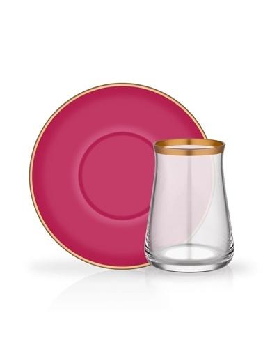 Glore Colored Fuşya 6 Kişilik Çay Seti Renkli